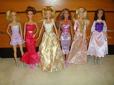 Barbie Doll Lot Of 6 Dolls Fully Clothed With Shoes Excellent Condition Lot 74