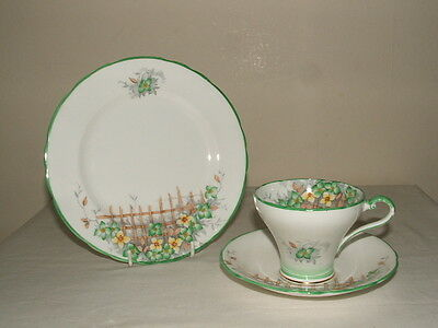 Aynsley  Art Deco Flower Trellis Tea Trio Truly Stunning