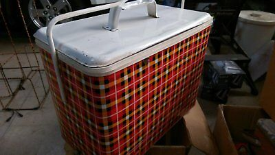 Vintage Retro Willow Cooler, Metal, Tartan Colour,  with original box it came in