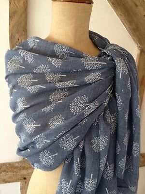 Scarf In Denim Blue With White Mulberry Tree Design.