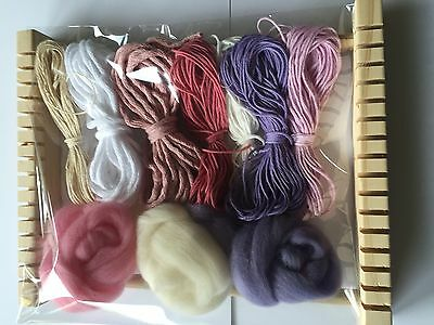 Weaving Kit with Wooden Loom Pink