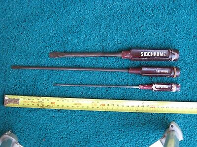 3 Old Sidchrome Screwdrivers, S 133-6, S 131-10, S 117-6