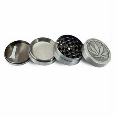 40mm Silver Stainless Steel Spice Herb Grinder Cylinder 4 Piece Tobacco Mill