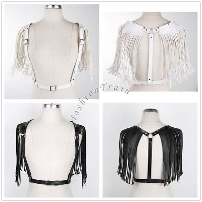 PU Leather Sexy Women's Chest Harness Sculpting Belt tassels Waist Strap Costume