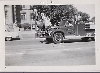 Original Vintage Photo Williamsburg Illinois Fire Protection District Truck 1956
