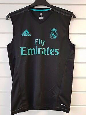 Adult S Real Madrid Tng Sleeveless Jersey - Fly Emirates / Adidas Sponsor RM9