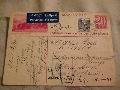 WW II POW postcard. Onchan Internment Camp. Isle of Man. 1941