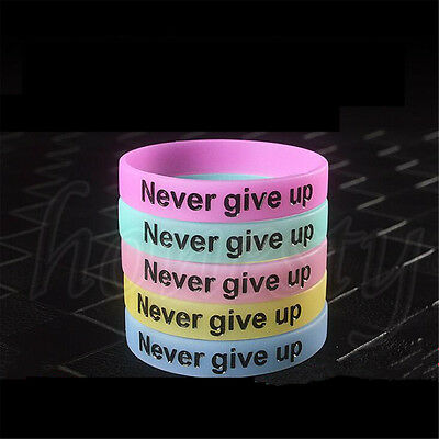 2PCS Never Give Up Luminous Bracelet Silicone Glow in the Dark Wristband Unisex