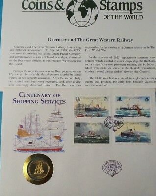 1983 First Day Cover Guernsey £1 Coin Rare Centenary Of Shipping Collection