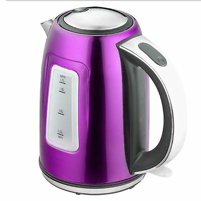 1.7L Electric Cordless Kettle LED Light 2200W Fast Boil 1 Year Guarantee Purple