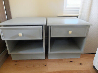 Shabby Chic Bedside Cabinets Pair Of GREY Bed Side Tables Storage Drawers