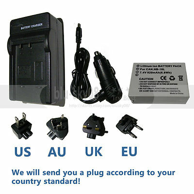 NB-10L Battery + Charger for CANON PowerShot SX60 SX50 SX40 HS G15 G16 Camera
