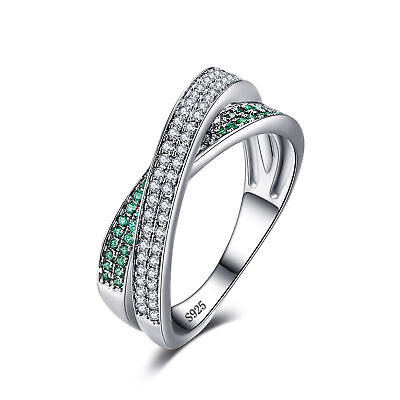Wedding Band Ring Cubic Zirconia Green Sapphire 925 Sterling Silver Size 6