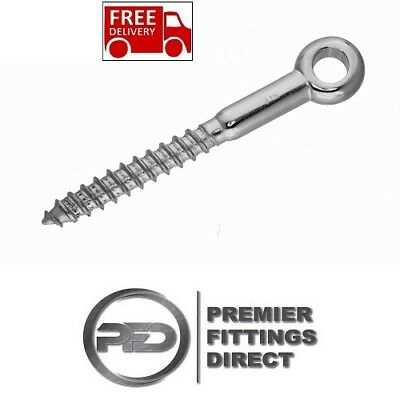 Eye Bolt 8mm x 80mm Stainless Steel Screw Wood Thread Vine Eyes