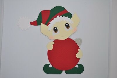 Elf holding Christmas ornament fully assembled paper piecing / die cut