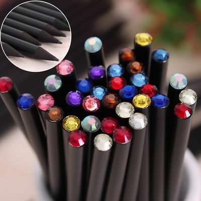 2pcs Random Color Blackwood HB Pencil With Small Crystal School Office Supplies