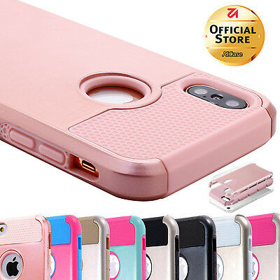 For Apple iPhone X 7 8 Plus Shockproof Hybrid Rubber Protective Hard Case Cover