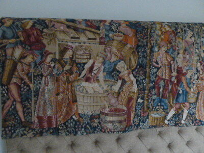 Antique style vibrant tapestry embroidery wall hanging medieval tudor scene XC