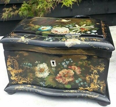 fantastic early victorian papier mache caddy serpentine front