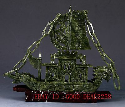 100% Natural Jade Hand-carved Ship Statue NYF03