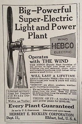1928 Ad(Xb1)~Herbert Buckling Corp. Elkhart, Ind. Hebco Electric Power Windmill