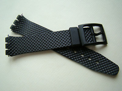 Cinturino in gomma nero quadrettato per Swatch Gent ansa 17mm watch band strap