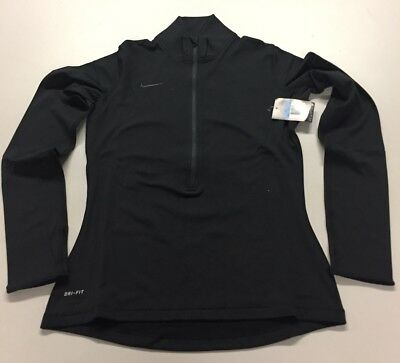 Nike Women's Dri-Fit Pro Hyperwarm Half-Zip Black Size Medium 642077-010 NWT