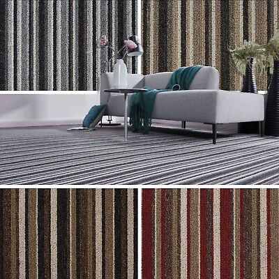 Cheap Striped Loop Carpet Hardwearing Felt Backed Bedroom, Lounge, Hall, Stairs