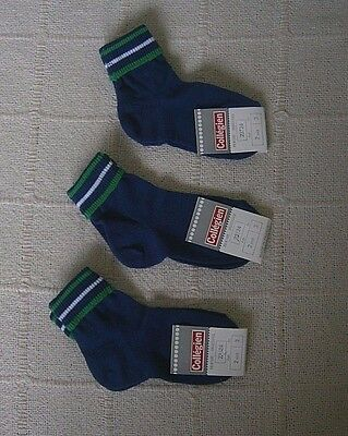 2 Pairs Vintage Quality Sox - Age 2 Years - Navy - Striped Tops - Cotton  - New