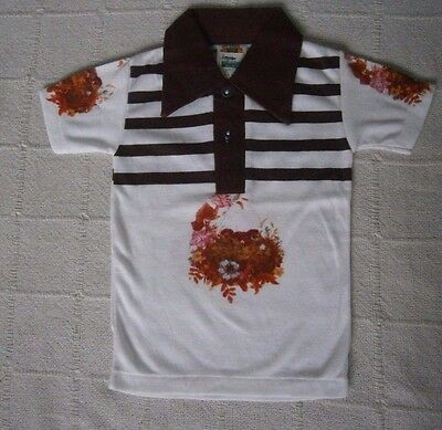 Vintage Collar T-shirt - Age 2-3 Approx - Print on White/Brown -Cotton/Poly- New