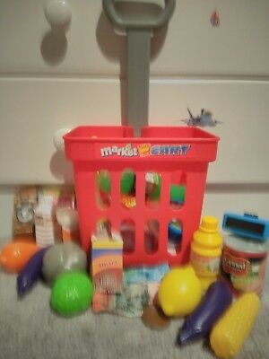 Toy Market shopping  trolley foods veggies money and working scanner.