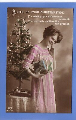 Old Vintage 1924 Postcard Christmas Xmas Greetings Noel Young Woman Tree Gifts
