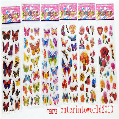 6 Sheets Butterfly Crafts Stickers 3D PVC Teacher Reward Stickers Lot Party Gift