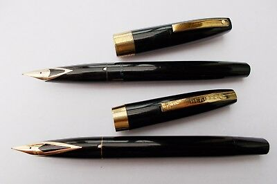 2 Sheaffer Imperial F/pens. Complete - Working - 14K Inlaid Nibs. N/res