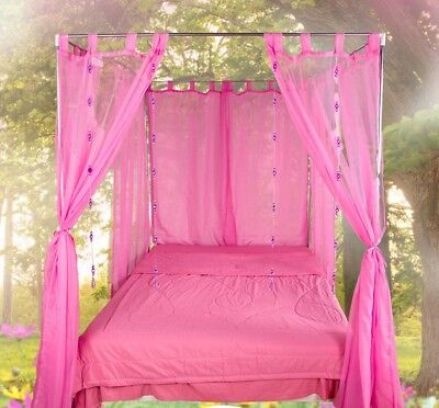 Queen Pink Yarn Mosquito Net Bedding Four-Post Bed Canopy Curtain Netting *