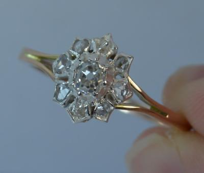 Georgian 15ct Gold Old & Rose Cut Diamond Cluster Ring d0876