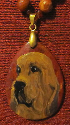 Bloodhound hand painted on red Jasper pendant/bead/necklace