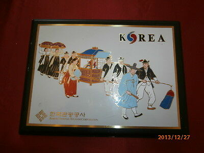 "Rare Korean National Tourism Corporation Enamel Metal Plaque "" On a Wedding Day"""