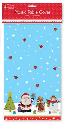 Christmas SANTA TABLE COVER Plastic 120 x180cm Xmas Party Tablecloth Dining Gift