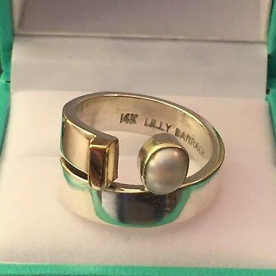 Beautiful Lilly Barrack Sterling Silver And 14k Gold Ring