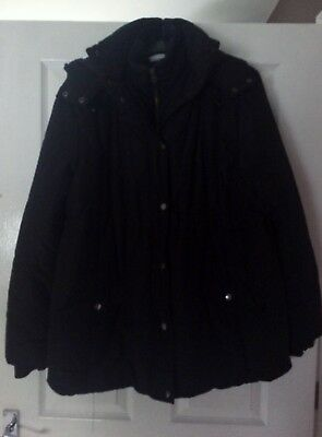 JoJo Maman Bebe Black Maternity & Post-natal 2 in 1 Winter Coat Size 18!