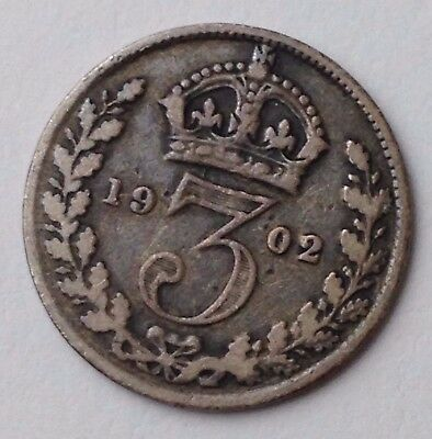 Dated : 1902 - Silver Coin - Threepence / 3d - King Edward VII - Great Britain