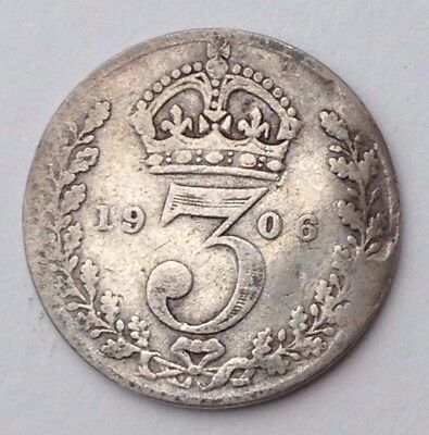 Dated : 1906 - Silver Coin - Threepence / 3d - King Edward VII - Great Britain