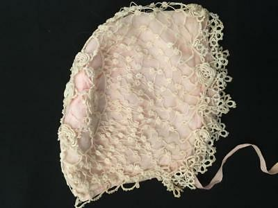Very Vintage Tatted Baby Bonnet - Pink Lining - Vanilla Hand Work - Small