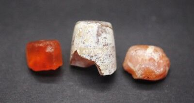 Group of three ancient Egyptian carnelian beads Middle Kingdom 2000 - 1600 BC