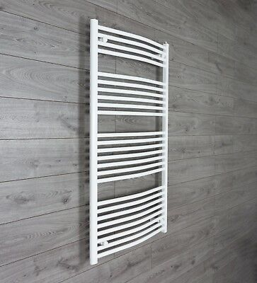 750 mm Wide 1300 mm High Curved White Heated Towel Rail Radiator Bathroom Design