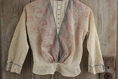 Antique woman's shirt Victorian  French woman's clothing Paisley RARE blouse