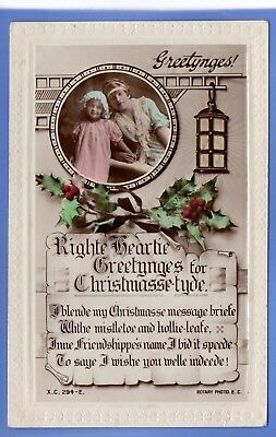 Old Vintage Rp Postcard Christmas Xmas Noel Young Girl Holly Lantern Greetings