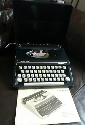 Silver Reed Silverette Vintage Portable Typewriter With Case-  black, working