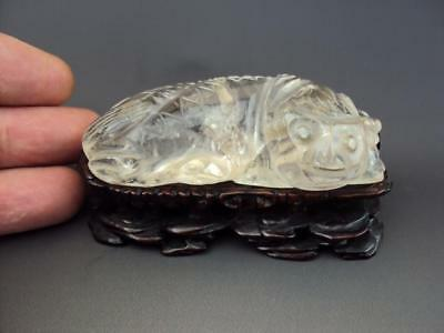 Rare Impressive Chinese Rock Crystal Foo Dog Carving Oriental Antiques